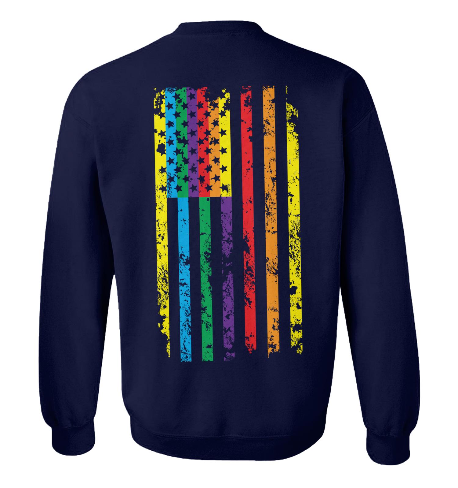 Distressed Rainbow Flag Hoodies Gay Pride Equal Rights Sweatshirts